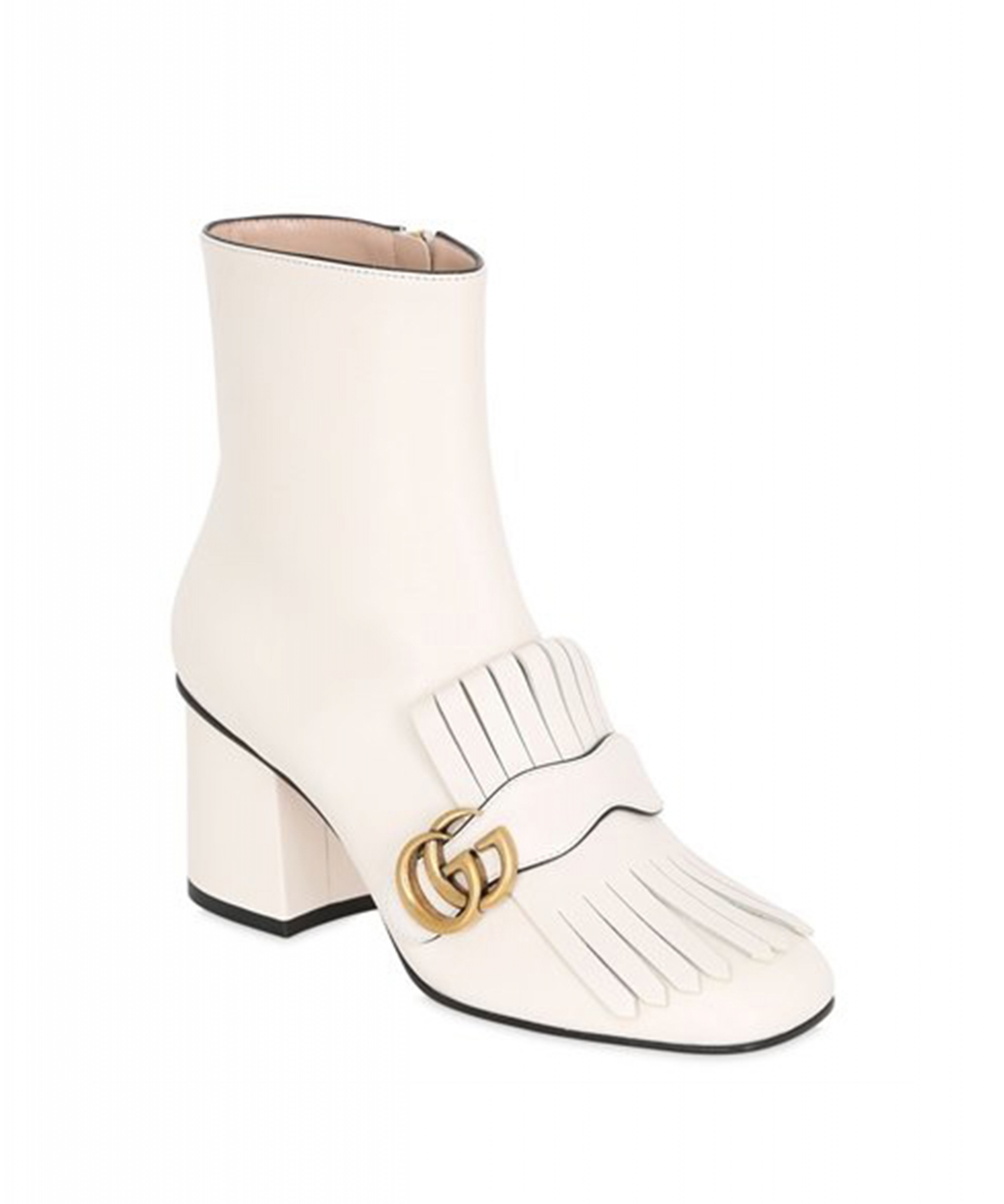 Gucci White Marmont Fringed Leather