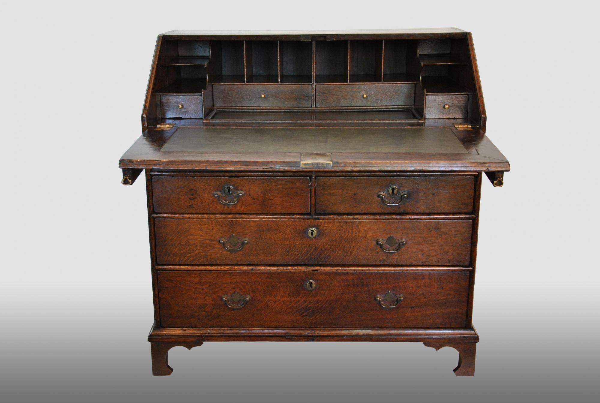 english bureau with step interior 18th century artlistings. Black Bedroom Furniture Sets. Home Design Ideas