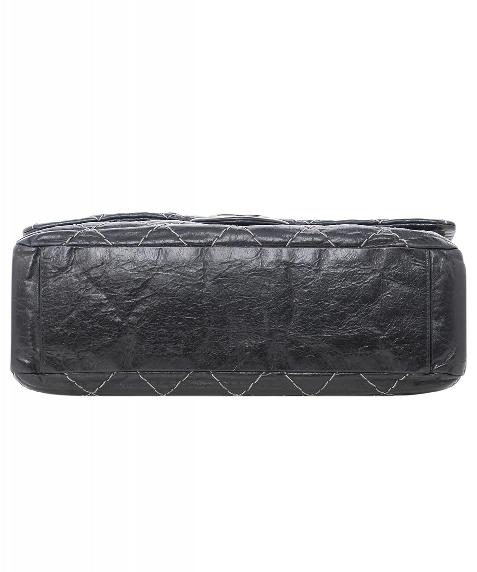 a594581ef35b63 ... Chanel Black Glazed Goatskin Contrast Double Stitch Flap Bag. Touch to  zoom