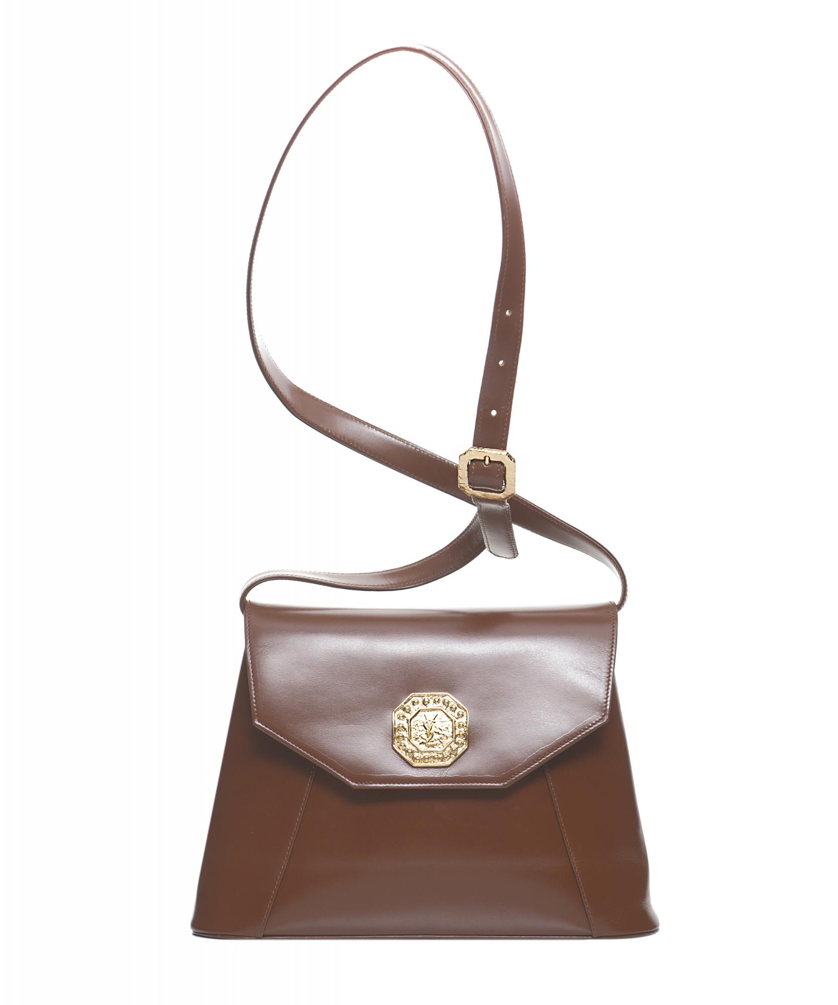 Yves Saint Laurent Brown Leather Shoulder Bag Yves Saint