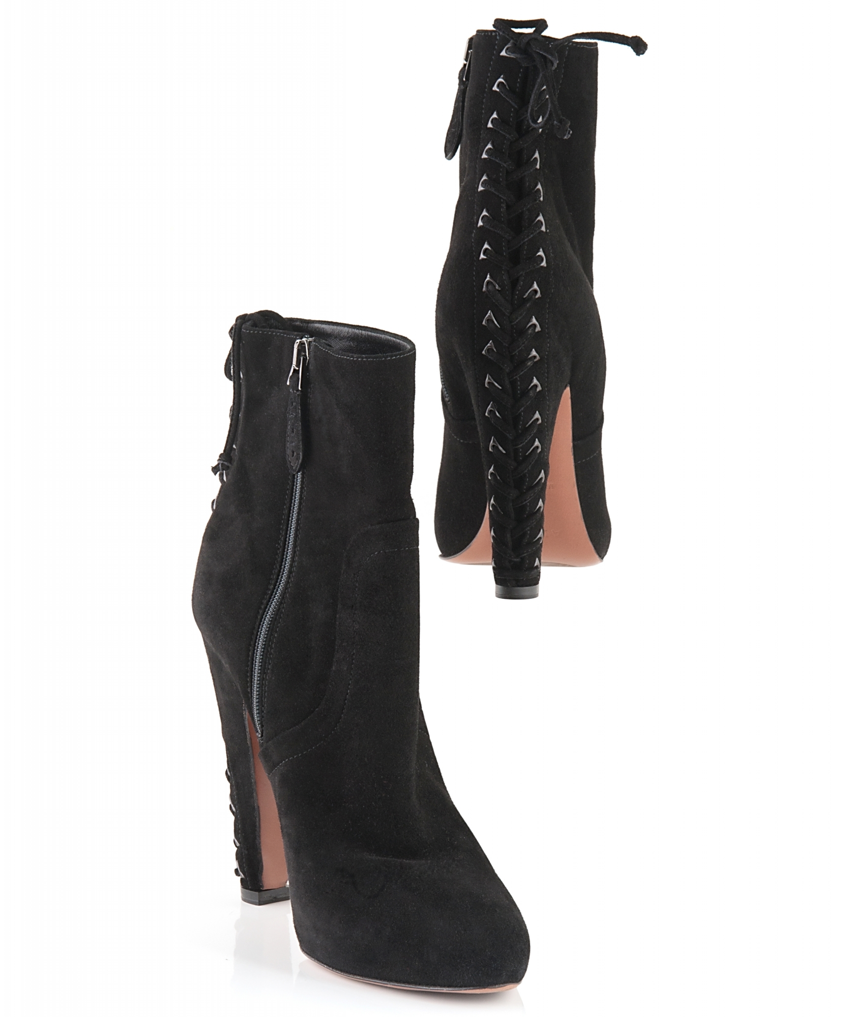 c50c753a415 Alaïa Black Suede Lace-Up Detail Ankle Boots | La Doyenne
