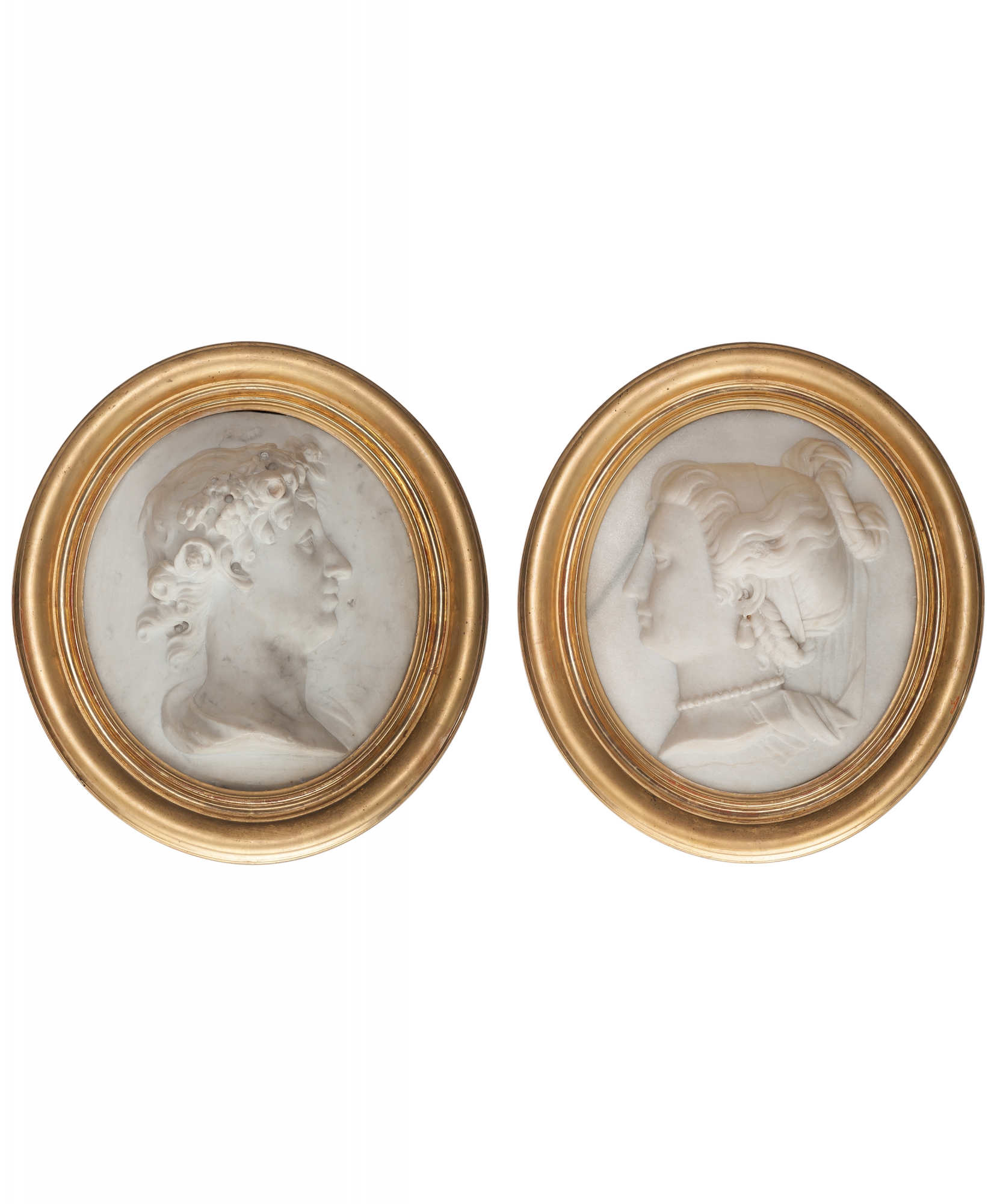 19th Century Pair Of White Marble Profile Portraits With