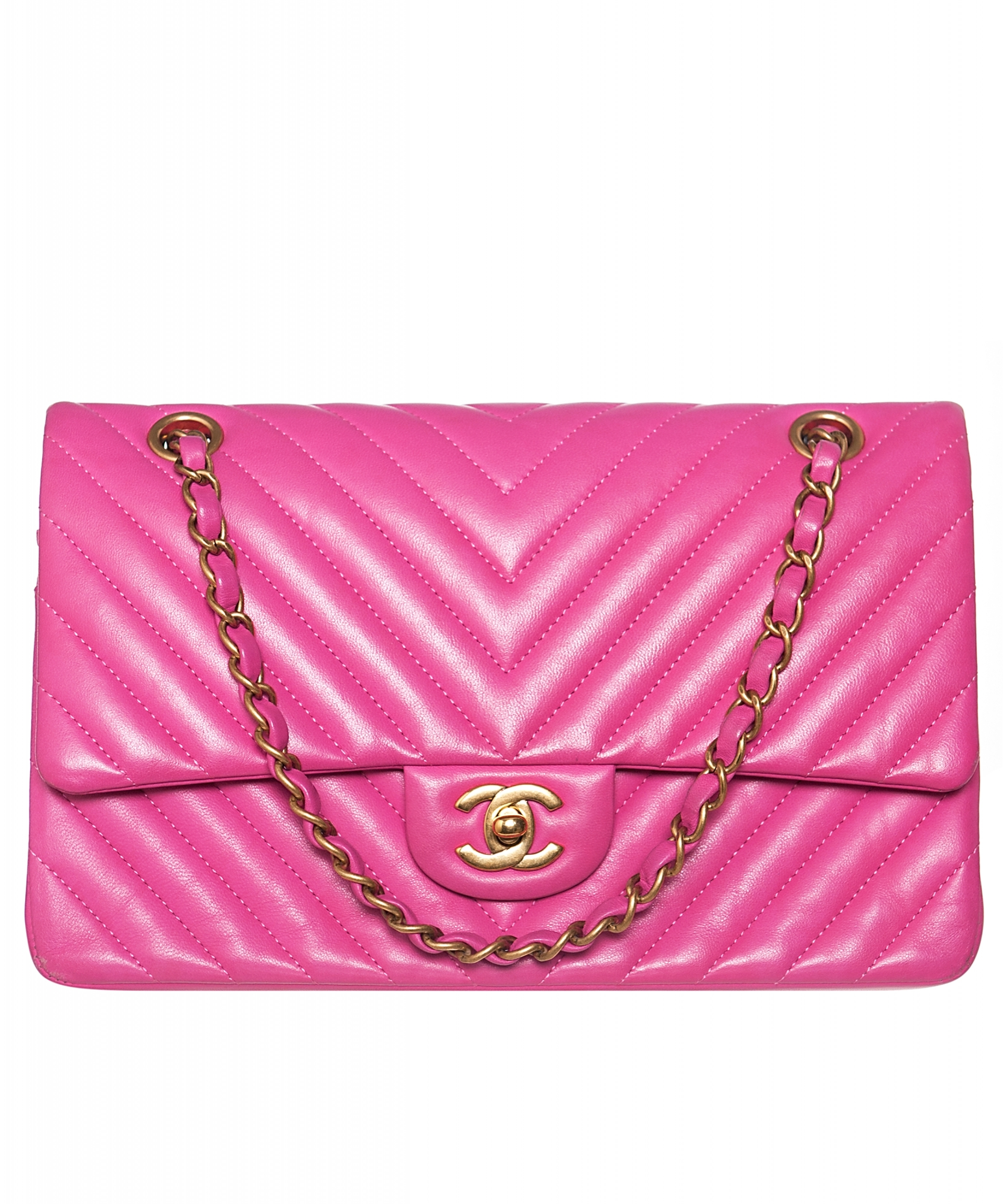 94202422ab ... Chanel Pink Quilted Chevron Leather Classic Medium Double Flap Bag.  Touch to zoom