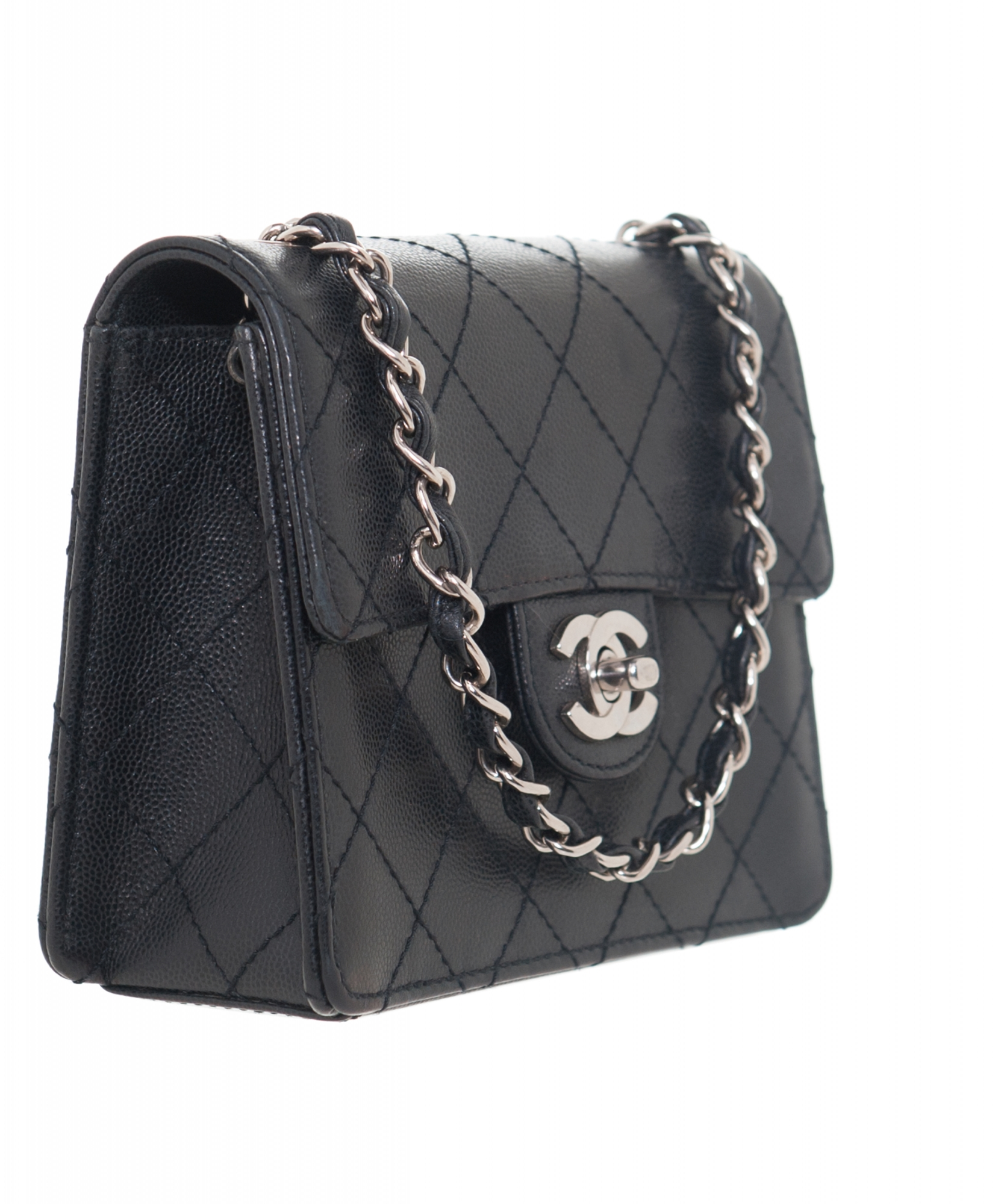2544df523e98 Chanel Vintage Black Caviar Quilted Mini Flap Bag | La Doyenne