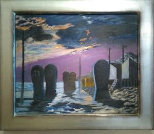 Nicolaas Wijnberg, Beach by Moonlight, Oil Painting 1950s - Nicolaas Wijnberg