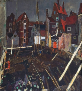 Piling at the Nieuwedijk in Amsterdam by Jan Sluijters ('s Hertogenbosch 1881 - 1957 Amsterdam)