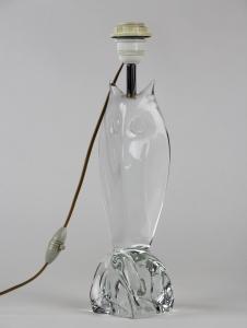 Daum France, Kristallen lampenvoet in de vorm van een uil, ca. 1950
