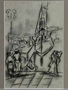 Mommie Schwarz, sketch of harbour, charcoal on paper, 1920s - Mommie (S.L.) Schwarz