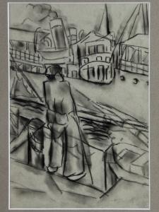 Mommie Schwarz, sketch of dockworker, charcoal on paper, 1920s - Mommie (S.L.) Schwarz