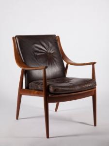 Peter Hvidt & Orla Mølgaard-Nielsen voor France & Son, teakhouten fauteuil met leren bekleding, model 148, 1953 - Peter Hvidt