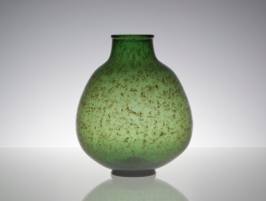 Chris Lanooy, Green bottle vase with golden decoration, ca. 1926 - Chris (C.J.) Lanooy