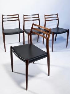 Niels Otto Møller, Four rosewood chairs, executed by J.L. Møllers Møbelfabrik, Denmark, 1960s - Niels Otto Møller