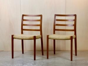 Niels Otto Møller, Two dining room chairs, model no. 85, teak and papercord, J.L. Møllers Møbelfabrik, 1960s - Niels Otto Møller