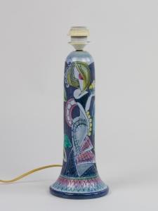 Marian Zawadzki voor Tilgmans Keramik, Keramische lampvoet met vrouw en bladeren, ca. 1960 - Marian Zawadzki