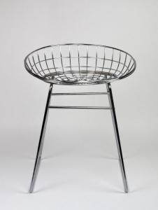 Cees Braakman voor Pastoe, verchroomd draadstalen kruk, model KM05, 1958 - Cees Braakman