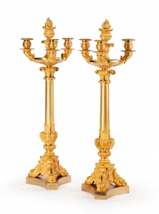 An impressive pair of French Charles X Candelabras