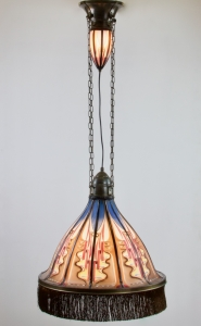 De Nieuwe Honsel, Amsterdam School hanging lamp with top light, model D218, 1920s - De Nieuwe Honsel