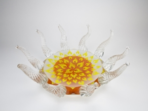 Olaf Stevens for Glass Factory Leerdam, Unique bowl with flames, 1993 - Olaf Stevens