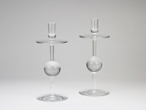 A.D. Copier, two glass candlesticks, executed by Glass Factory Leerdam, 1963 - Andries Dirk (A.D.) Copier