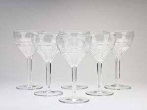 W.J. Rozendaal voor Kristalunie Maastricht, Grote wijnglazen van servies 'Spectrum', 1928 - Willem Jacob (W.J.) Rozendaal