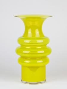 Jan van der Vaart, Leerdam Unica, Gele glazen vaas, uitvoering Henk Verwey, 1994 - Jan van der Vaart