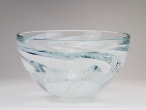 Willem Heesen, Unique thick glass bowl with white decoration , Studio de Oude Horn, 1992 - Willem Heesen