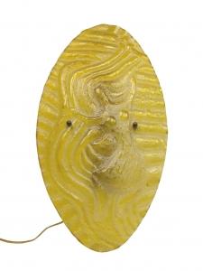 Willem Heesen voor Glasfabriek Leerdam, Goudgele wandlamp met reliëf van dansende dame, 1947 - Willem Heesen