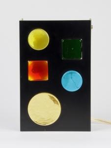 Raak Amsterdam, Metalen wandlamp met gekleurd Muranoglas, ca. 1970 - Raak Amsterdam