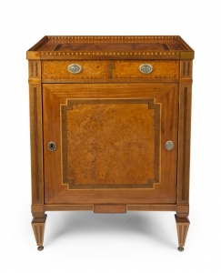 An amboina Louis Seize one-door commode
