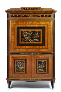 A Dutch Louis Seize secrétaire à abattant with lacquer panels
