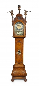 A Dutch Walnut Longcase Clock with Ships Automaton