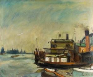 Petrus Theodorus (Piet) van Wijngaerdt, 'Het IJ aan de Ruyterkade', oil on canvas, ca. 1920 - Petrus Theodorus (Piet) van Wijngaerdt