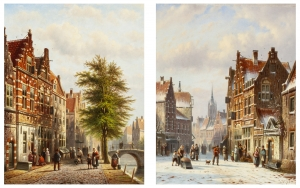 A pair of cityscapes - Johannes Franciscus Spohler