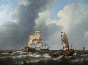 Sailing ships on a rough sea - Johannes Christiaan Schotel