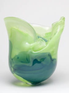 A.D.Copier, Unique blue and green vase, executed by Bernard Heesen, De Oude Horn, 1989 - Andries Dirk (A.D.) Copier