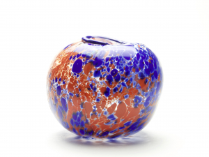Willem Heesen, Unique vase with red and blue decoration, Studio De Oude Horn, 1980 - Willem Heesen