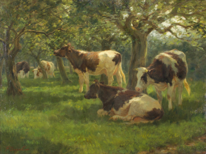 Frederik Engel, 'Cows in an orchard', oil on canvas, 1915-1925 - Frederik Engel