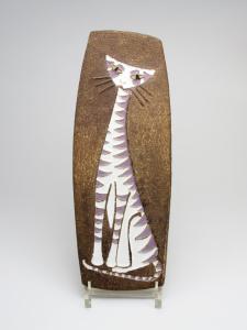 Ru de Boer, N.V. Plateelbakkerij Ram (Huizen), Ceramic tile with cat, h. 39 cm, jaren '60 - Ru de Boer