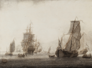 Ships on a calm sea - Cornelis Boumeester