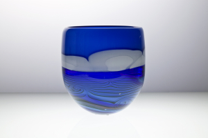 Willem Heesen, 'Blue River', Unique vase with blue and white colored layers, 2001 - Willem Heesen