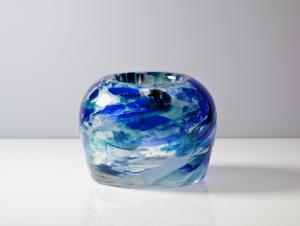 Willem Heesen, Unieke dikwandige vaas met blauw-witte kleurlagen, Oude Horn, 1980 - Willem Heesen