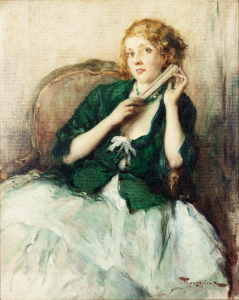 Lady with a fan - Fernand Toussaint