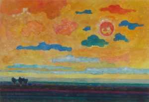 Dirk Breed, Landscape with sunset sky, gouache on paper, signed - Dirk Breed