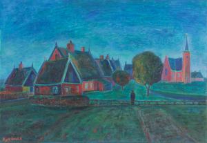Dirk Breed, 'Dorpje', oil on canvas, signed 'Dirk Breed', 46 x 66 cm - Dirk Breed
