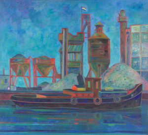 "Dirk Breed, ""Concrete factory"", oil on canvas, signed ""Dirk Breed"", 74 x 80 cm. - Dirk Breed"