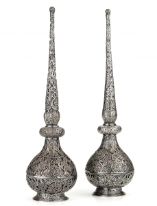 A pair of silver rosewater sprinklers