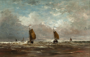 Fishing boats returning home at Scheveningen - H.W. Mesdag