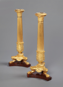 Pair of Charles X ormolu candlesticks