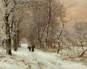 Winterlandscape with wood gatherers by sunset - Louis Apol