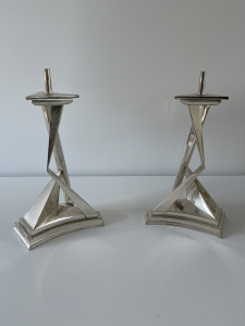 Salvadore Dali, a set CHROMIUM PLATED METAL PRICKET CANDLESTICKS: L'IMMORTALITI DE CASTOR ET POLLUX - Salvador Dalí